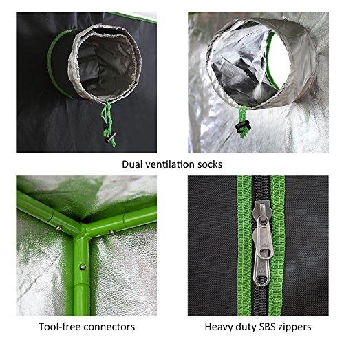 "Vivosun 48/""X24/""X60/"" Mylar Hydroponic Grow Tent With Observation Window And Floor"